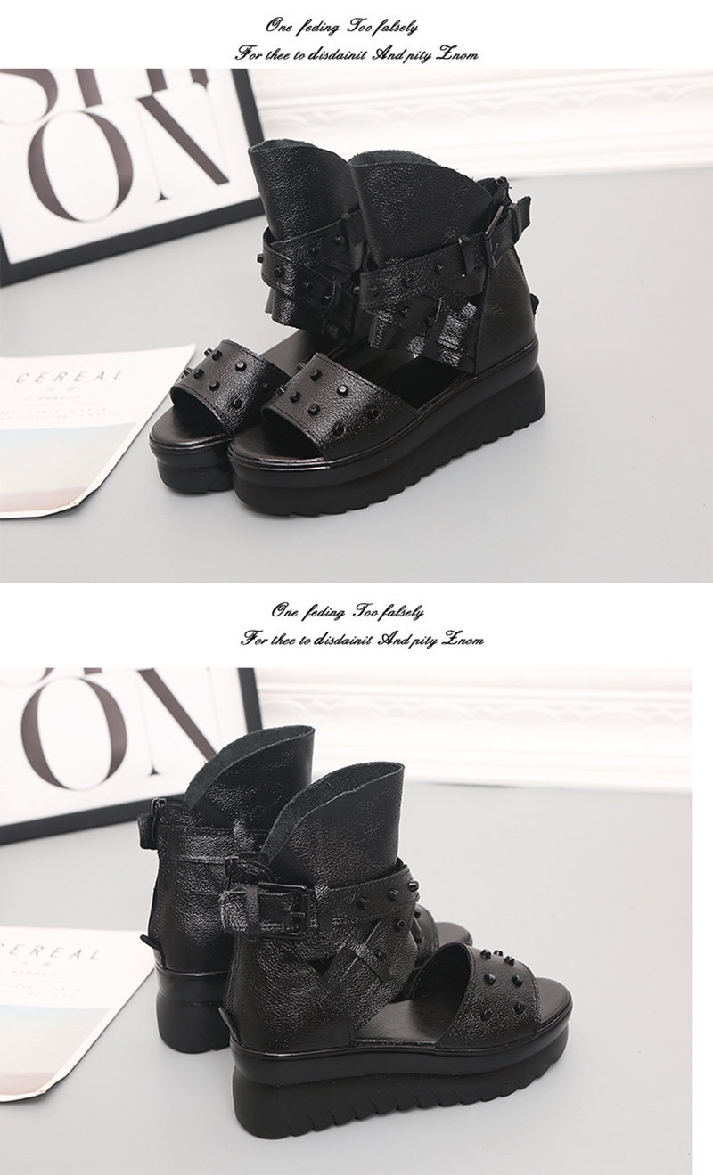 ADBOOV Genuine Leather Platform Sandals Women Summer Wedges Shoes For Women Sandalias De Verano Para Mujer Size 35-43