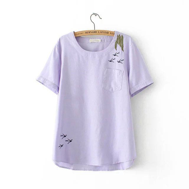 Plus size 4XL mulheres de Linho de algodão solto verão T-shirt 2017 NEW casual Bordado O pescoço BOTÃO curto das senhoras da luva topo feminino