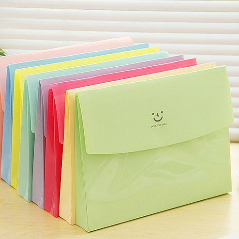 Free Shipping 1Lot=4piece Korea Stationery Paper File Smile Mood A Single A4 Multi-function Envelope Data Book  Office Supplies