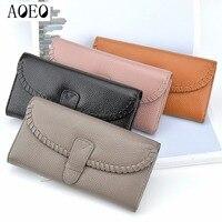 AOEO Female Wallets Leather Genuine Famous Brand Wallet Women Clutch Bag Long Slim Card Holder Pocket