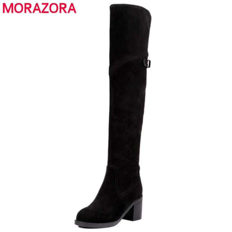 MORAZORA Пряжка корова замша кожа над сапоги квадратных высокий каблук молнии колена модные элегантные осенние сапоги женская обувь