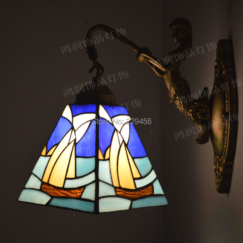 Tiffany Wall Lamp Mediterranean Sea Sailboat Stained Glass Mermaid Wall Sconces Bedside Cabinet Bathroom Fixtures E27 110-240V
