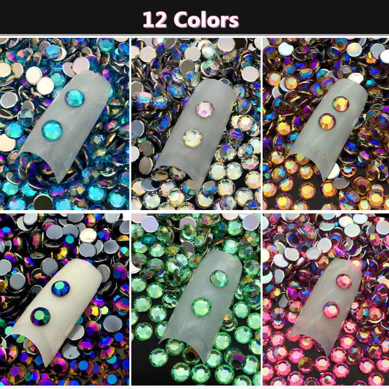 60 ピース/パック 5 ミリメートル DIY 3D ネイルアートアクリルラウンドグリッターラインストーンクリスタルプレート UV ジェルポリッシュヒント宝石ステッカーマニキュア