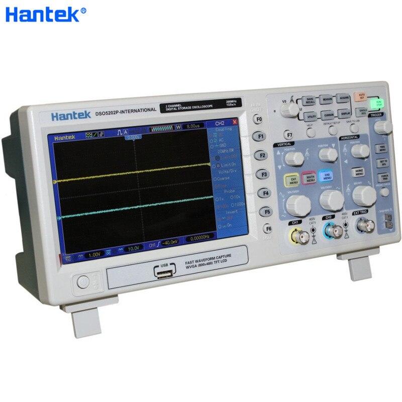 Hantek DSO5202P stockage numérique Oscilloscope USB 200MHz bande passante 2 canaux 1GSa/s 7 pouces TFT LCD PC longueur d'enregistrement 40K
