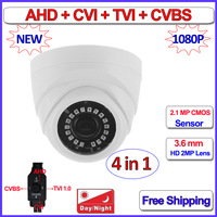 1080P 4in1 Dome Camera 2MP AHD H HDCVI HDTVI CVBS Security Camera With 3 6mm Lens