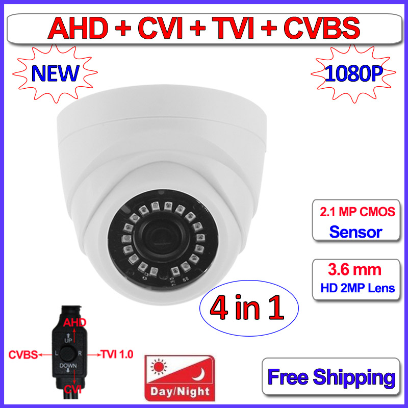 1080P 720P 4in1 dome camera 2MP 1MP AHD HDCVI HDTVI CVBS security camera with 3.6mm Lens, 18pcs LEDs, F22 Sensor, OSD, DNR, UTC 4 in 1 ir high speed dome camera ahd tvi cvi cvbs 1080p output ir night vision 150m ptz dome camera with wiper