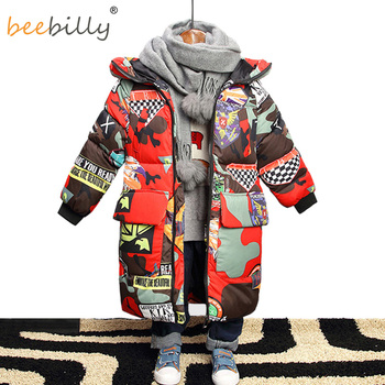Jacket for Boys 2019 New Brand Hooded Winter Jackets Graffiti Camouflage Parkas For Teenagers Boys Thick Long Coat Kids Clothes 1