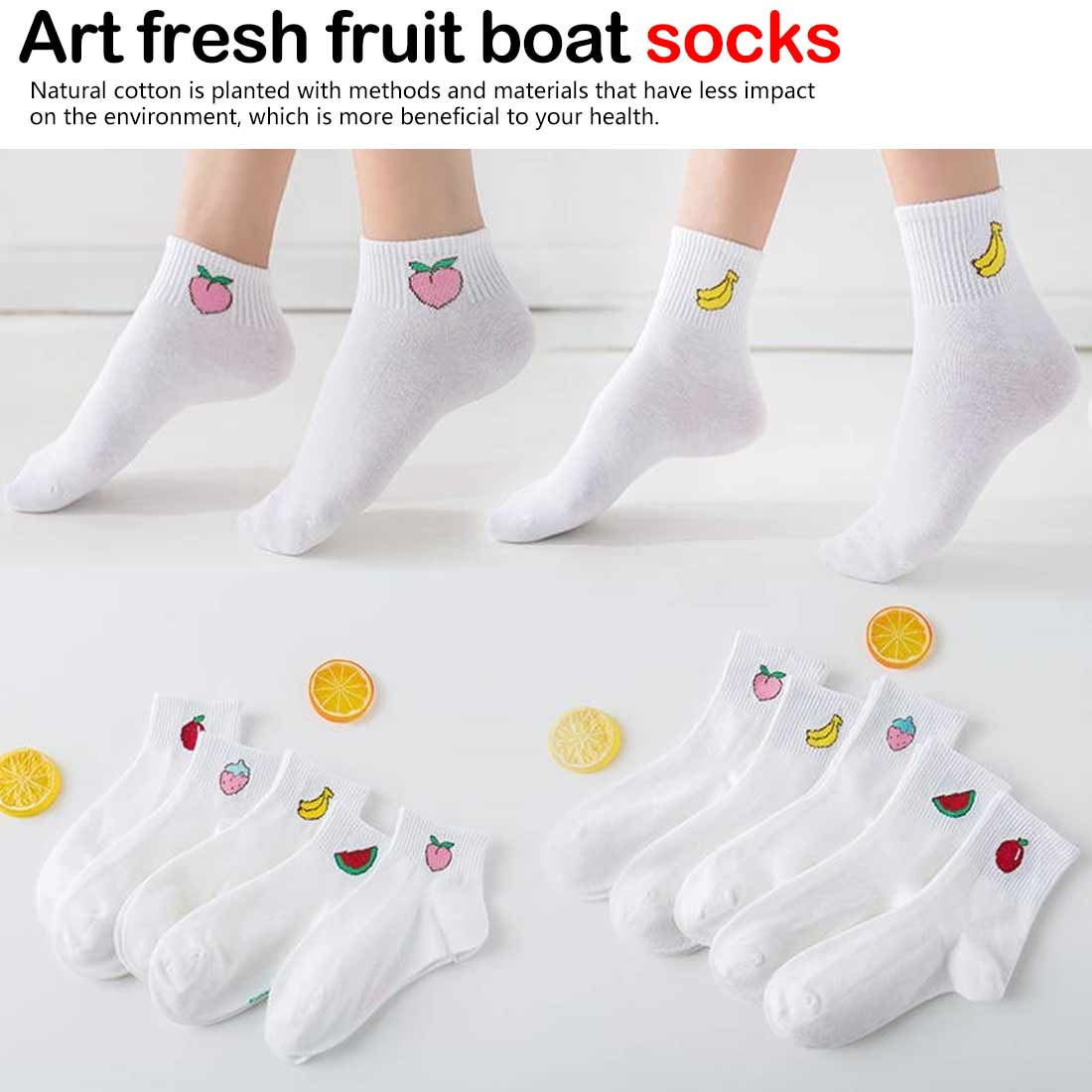Cute Funny Harajuku Concise Style socks  Art fresh fruit boat comfortable cotton for female