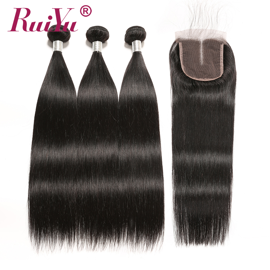 Brazilian Straight Hair Bundles With Closure 100 Remy Hair Extension Ruiyu Hair With Closure Human Hair