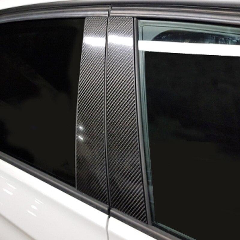 Carbon fiber car window B-pillars molding trim sticker decorative accessories for BMW E90 E70 E60 F30 car styling for bmw x5 e70 x6 e71 carbon fiber window lifter control frame window switch decor armrest panel trim car interior accessories
