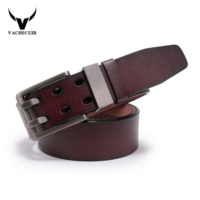 VACHECUIR Genuine Leather Belt for Men Gift Designer Belts Men's High Quality Cowskin Double Pin Buckle Vintage Belts LW1