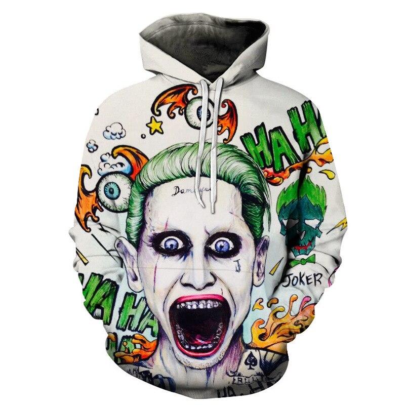 Liumaohua Newest Halley Quinn Joker 3D Hoodies Suicide Squad Sweatshirts Movie Pullover Men Women Streetwear Hip Hop Rock Skate