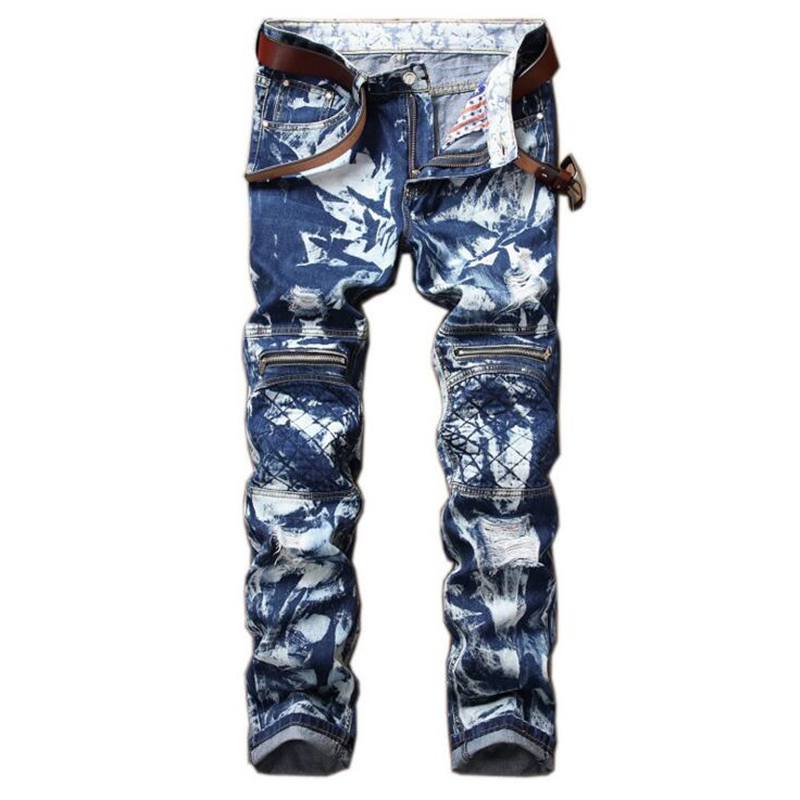 European Jeans Male Snowflakes Print Slim Fit Ripped Jeans Men Splice Pant Mens Denim Joggers Knee Holes Washed Destroyed Jeans men jeans fear of god ripped blue mens holes leisure straight denim designer mens jeans streetwear clothing pant oversize 28 40