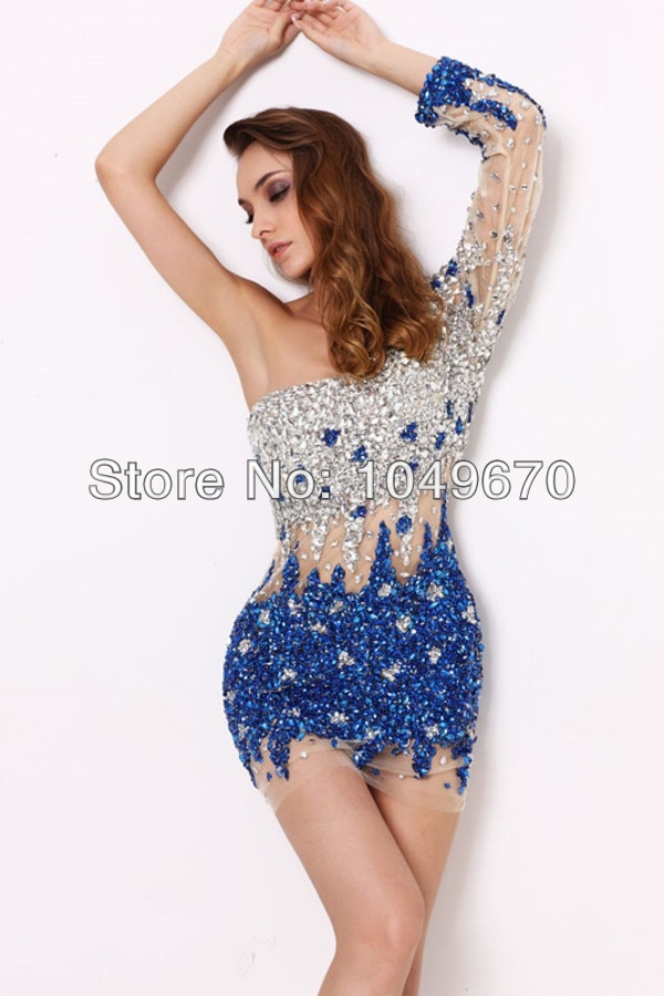 Handmade 2014 Sexy One Shoulder With Long Sleeves Heavy Crystal Sheath font b Cocktail b font