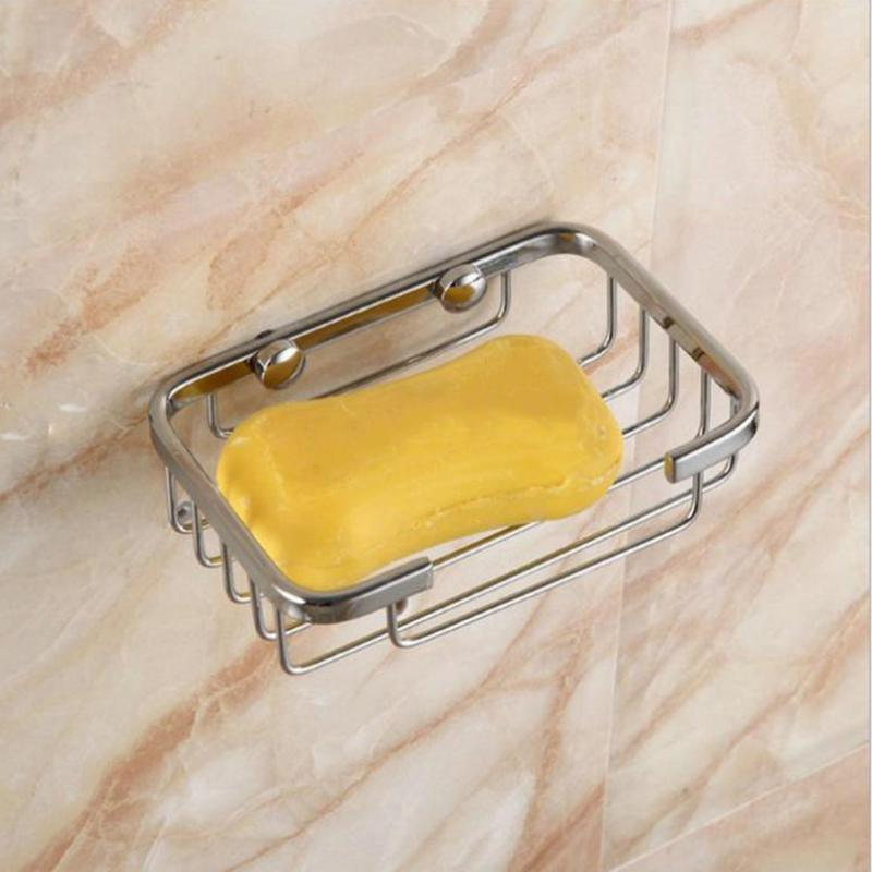 1PC Bolt Inserting Wall Soap Dish Holder Stainless Steel Soap Storage Box for Bathroom Soap Shower Basket Water Easy Leaking NEW