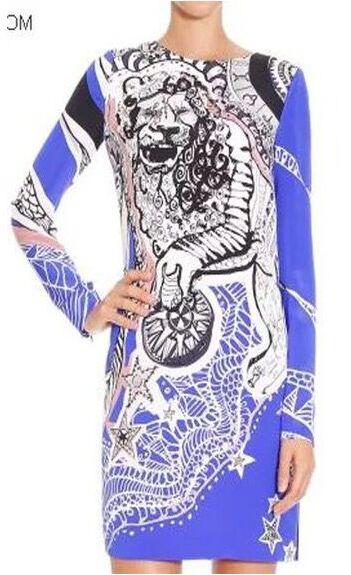 damen langarm stretchy jersey ischen silk 2016 dress geometrische designer elegante europ gedruckt XPTOuwkZil