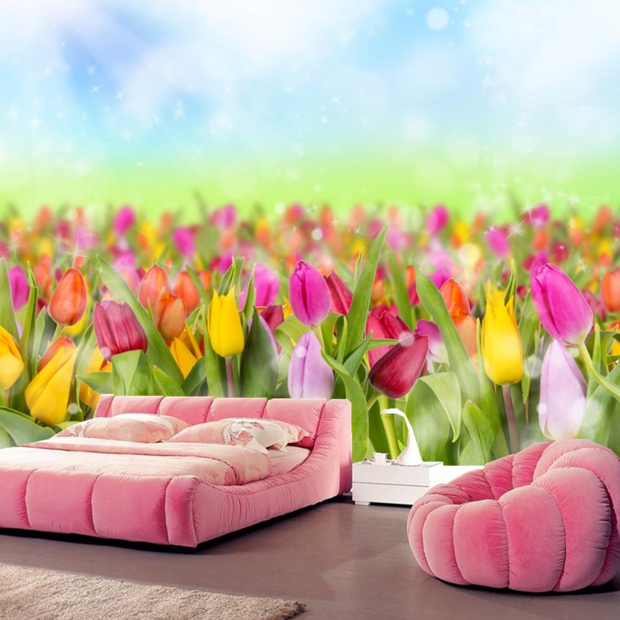 Custom Tulips Many Flowers wallpaper mural wallpaper 3d,hotel living room tv sofa wall bedroom wallpaper for walls 3 d 3d wallpaper custom photo hd mural flowers deer forest tv sofa bedroom ktv hotel living room children room