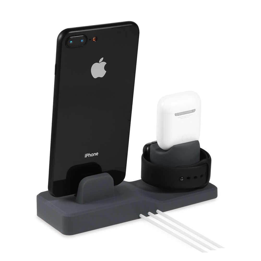 AIYIMA 3 w 1 stacja dokująca do iphone'a X XR XS Max 8 7 6 Apple Watch Airpods uchwyt ładowarki iWatch stojak do montażu stacja dokująca
