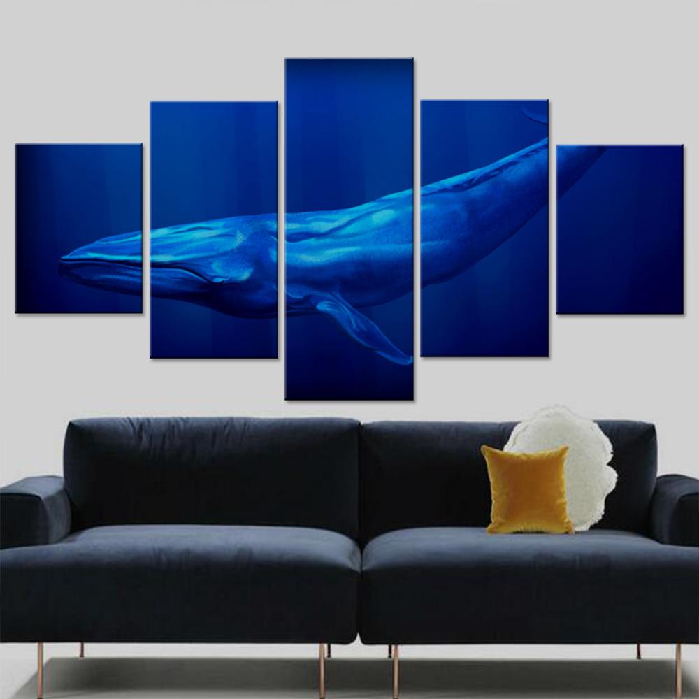 gran ballena azul lienzo conjunto modular de pared cuadros para la sala la decoracin del hogar