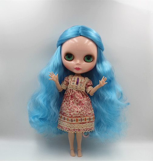 Blygirl Blyth poupée bleu ciel cheveux nude poupée 30 cm joint corps 19 joint bricolage poupée peut changer de maquillage