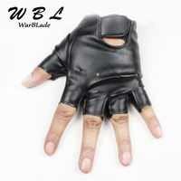 Кожаные перчатки для детей, перчатки без пальцев для девочек и мальчиков, детские перчатки без пальцев, митенки, дышащие черные ганты, высок...