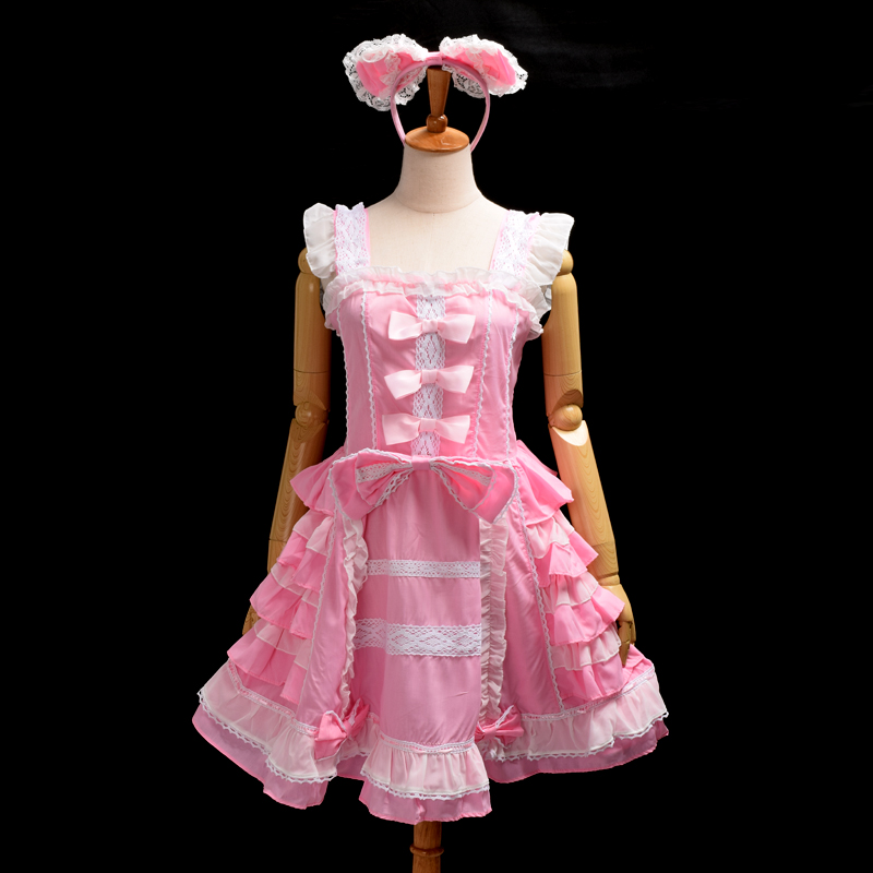 Romantic Princess Pink Lolita Dress Women Chiffon Gothic Maid Sleeveless Costumes with Headwear