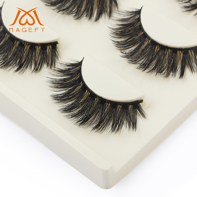 b42dca2d3c4 MAGEFY 3Pairs/Pack Thick Beauty Dramatic Lashes 3D Soft Mink Hair Volume  Eyelashes 100%