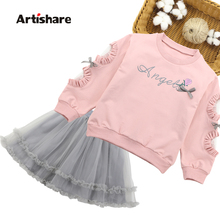 Conjunto de sudadera de manga de encaje y falda de malla para niña, conjunto de 2 uds. De ropa para niña, regalo de Navidad