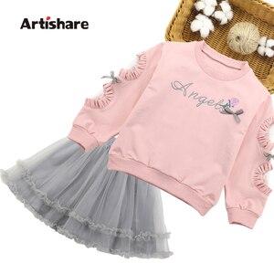 Image 1 - Girls Sets Lace Sleeve Sweatshirt + Mesh Skirt 2PCS Girls Clothes Sets Autumn Winter Children Girls Clothing Sets Christmas Gift