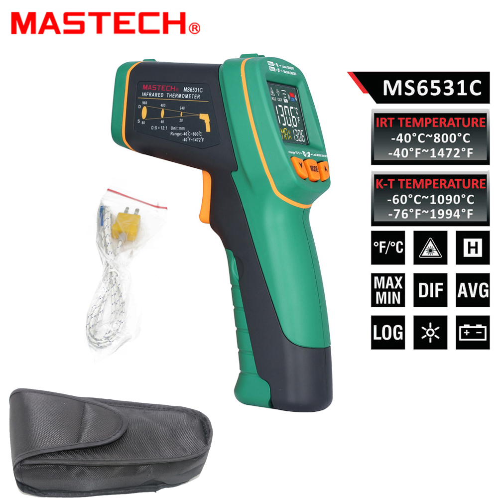 MASTECH MS6531C D:S 12:1 Handheld Digital LCD IR Thermometer Laser Temperature Tester Pyrometer Pyrometer Range -40~800 celsius benetech lcd digital infrared thermometer pyrometer laser point temperature gm300 meter free shipping