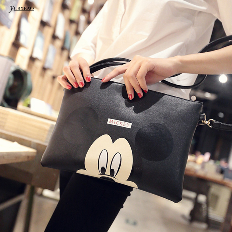 Women Hello Kitty Messenger Bag Minnie Mickey Bag Leather Handbags Ladies Cartoon Clutch Bag Bolsa Feminina Bolsa Female Handbag bailar cartoon minnie mouse totes messenger women handbag biki bag sequined embroidery famous brand leather female bolsa j017