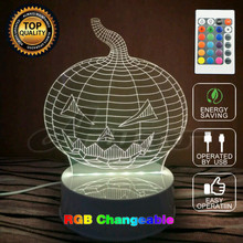 Amazing Light 3D Remote Control USB LED Powerbank Gift 7color Transform Halloween Pumpkin Lamp as Party Decor Light
