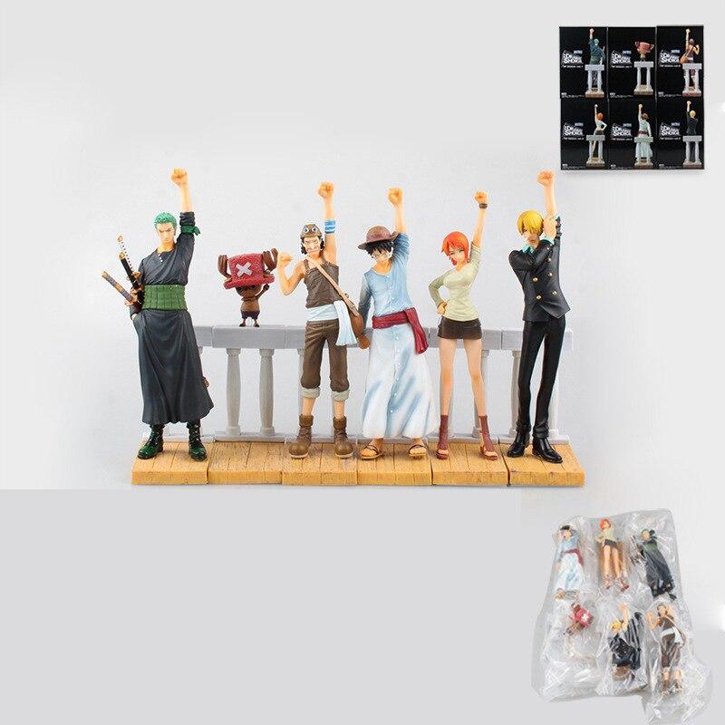 Stock sale Anime One Piece DRAMATIC SHOWCASE 1st Season 6pcs/set Luffy Zoro Nami Usopp Sanji Chopper PVC Collectible Toys new hot 8cm 6pcs set one piece luffy sanji roronoa zoro donquixote doflamingo collectors action figure toys christmas gift toy