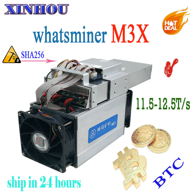 Asic BTC BCH Mineur WhatsMiner M3X 11.5-12.5 T SHA256 Économique Que M20S Antminer S17 T17 S17e T17e Innosilicon T2T T3 Eibt E12