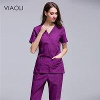 VIAOLI summer new surgical gowns fashion zipper design V neck nurses wear beauty salon dental clinic work uniforms