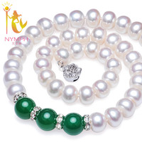 NYMPH Natural pearl necklace Fine Jewelry 9 10mm Freshwater Pearl Choker Necklace Red /Green Agate For Mother Trendy Gift X911