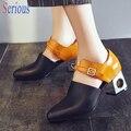 2016 Chic Mulheres Bonitas Sapatos Pontudos Dedo Do Pé Jogo Fivela Cor Da Moda Sapatas do Salto Robusto Bombas 6 cm Em Forma de Sapato de Salto