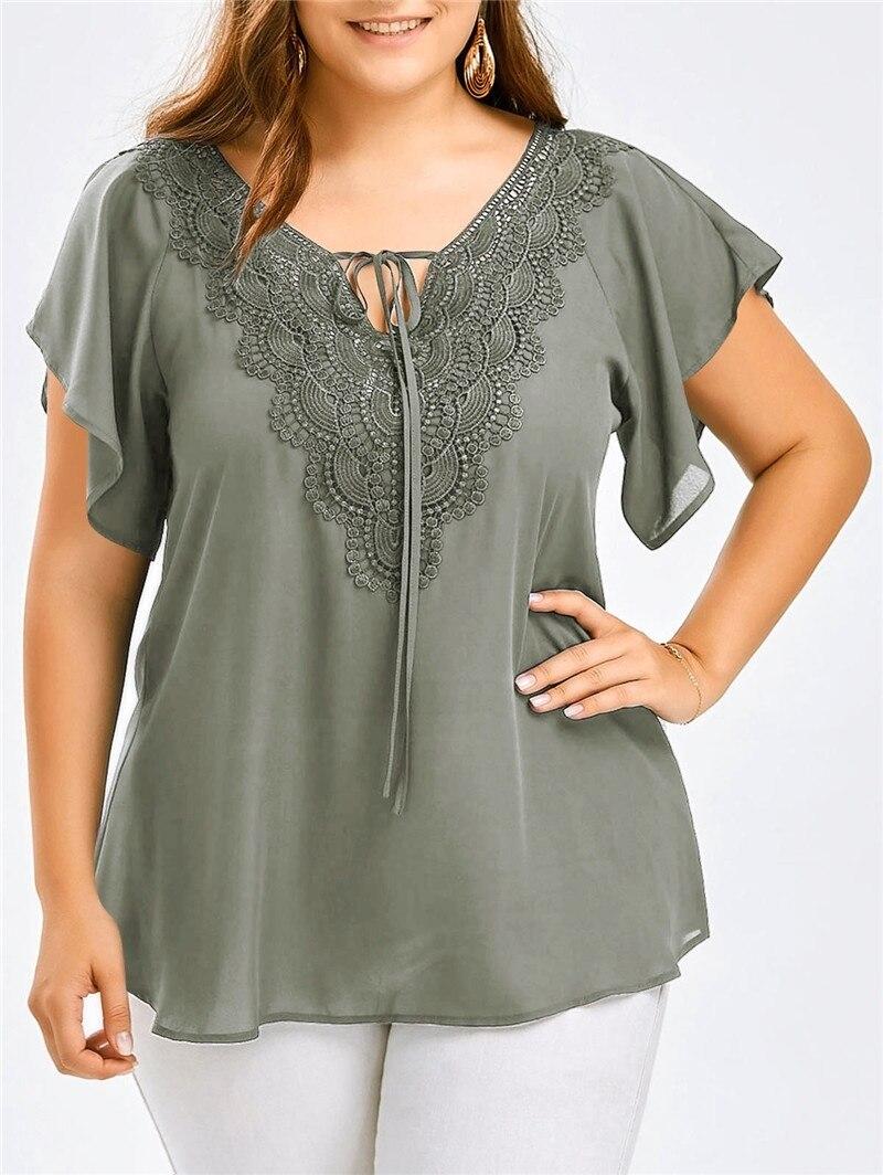 Plus Size Summer Chiffon Shirt Short Sleeve Ladies Lace Floral V Neck Casual Clothes Solid Color Women Fashion Blouses