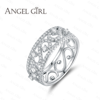 Angle Girl White Gold Plated Crystal Zircon Paved Engagement Rings Sets For Women 2016 Hollow Luxury