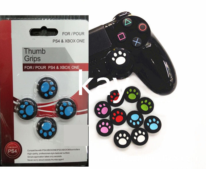 8PCS Cute Silicone Analog Thumbstick Cover Case Joystick Thumb Grips cap Cat Paw For PlayStation PS4/Xbox One PS4 Slim PS4 Pro
