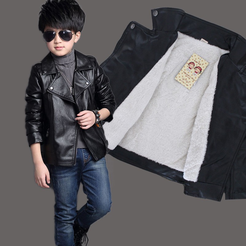 Brand Fashion Winter Child Coat Waterproof Heavyweight Baby Boys Girls Leather Jackets Children Outfits For Age 3-14 Years Old