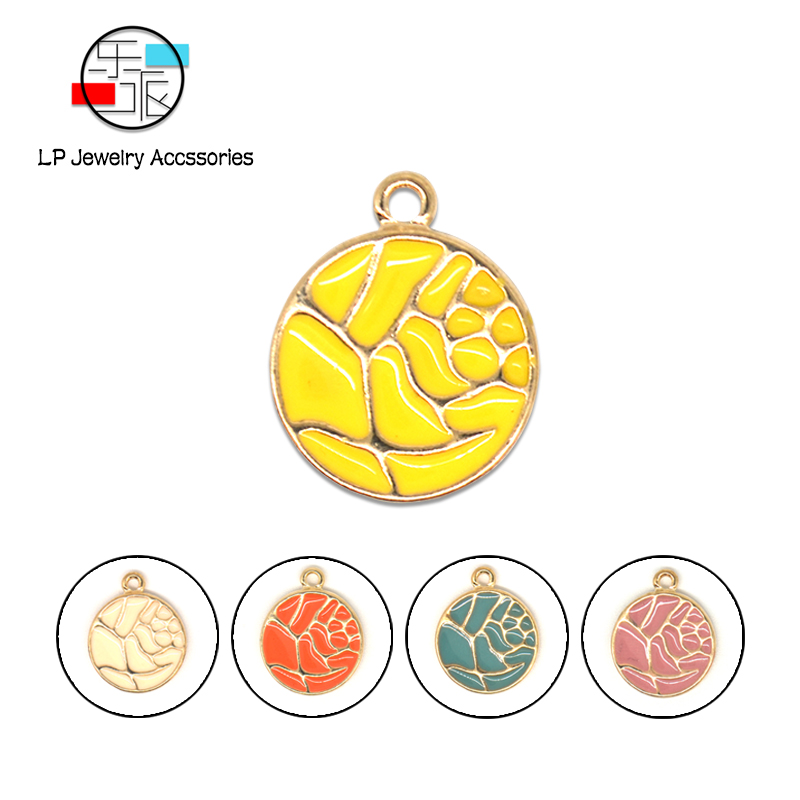 Round Enamel Pendants Jewelry findings Alloy Material Handmade Charms Bracelet Earrings necklaces DIY Jewelry Making Accessories in Charms from Jewelry Accessories