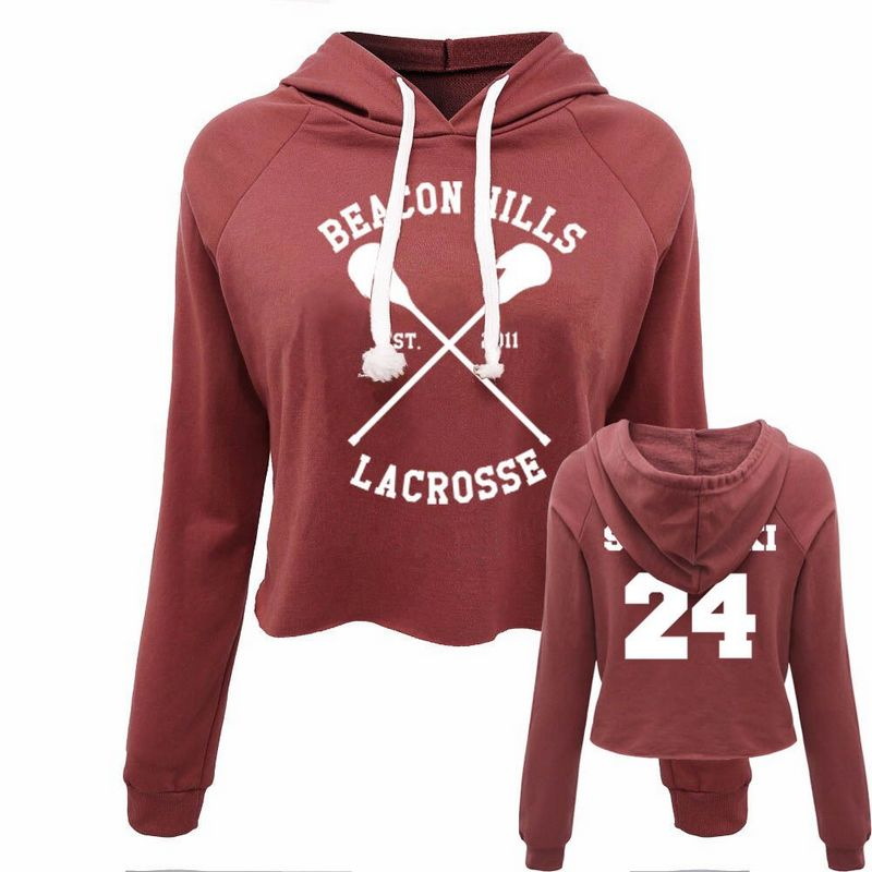 prezzo competitivo 9fd66 d326e Beacon 24 Casual Women Crop Top Hoodie Teen Wolf Stiles Stilinski  Sweatshirt Hoody Long Sleeve Girl Pullover Hooded Femme Shirts