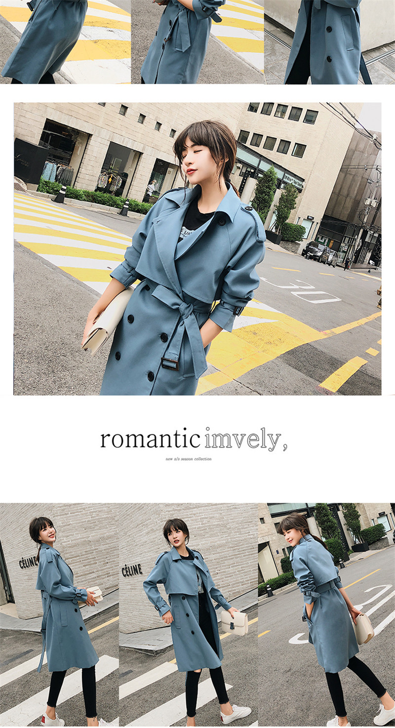 Windbreaker Female 19 Spring Autumn new Korean leisure chic loose ladies harbor wind Long Trench Coat for women X509 blue 3