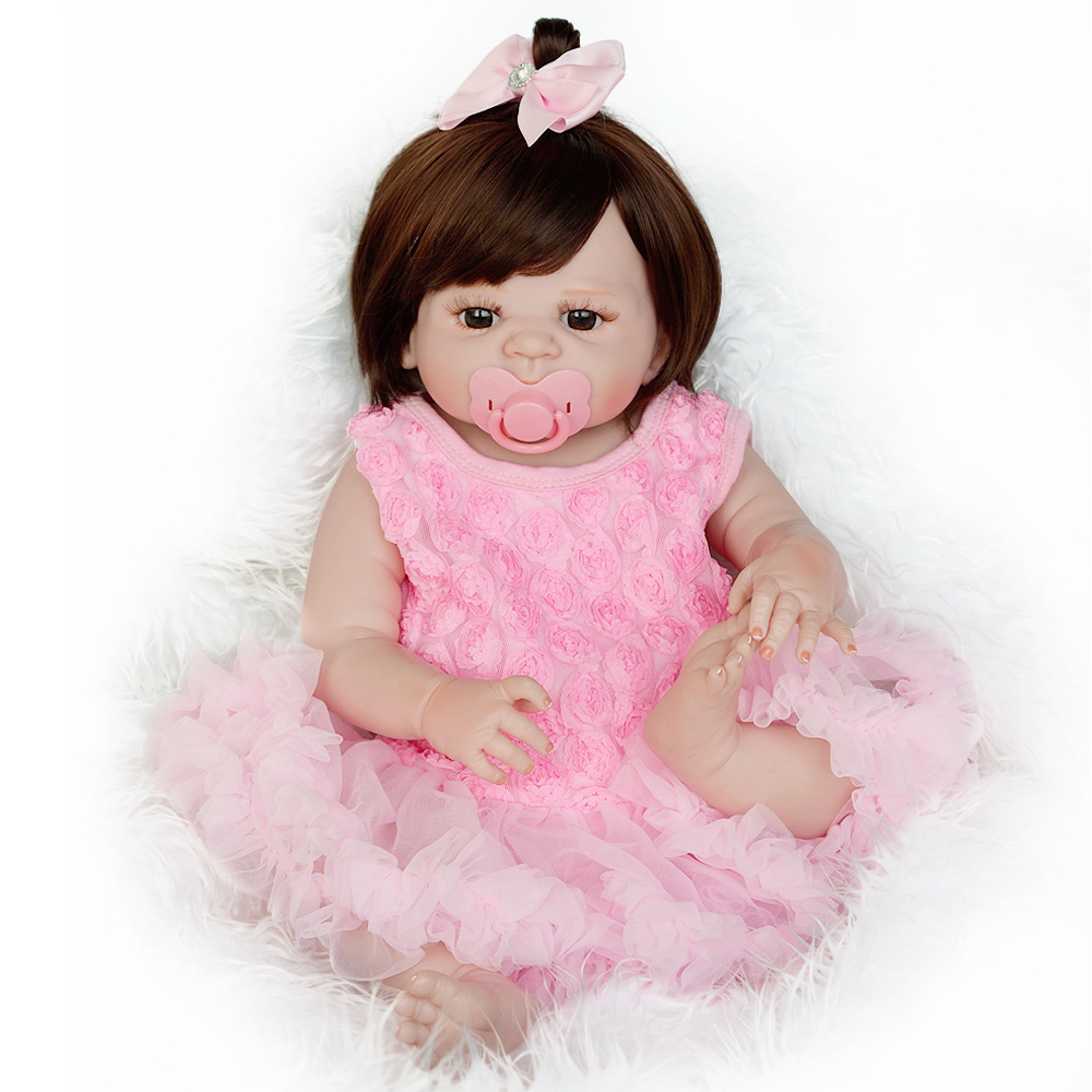 58cm Full Body Silicone Reborn Baby Realistic Baby Doll Handmade Baby Girl Doll Can Bath Birthday Gifts for Kids Pink Dress58cm Full Body Silicone Reborn Baby Realistic Baby Doll Handmade Baby Girl Doll Can Bath Birthday Gifts for Kids Pink Dress