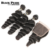 Black Pearl Pre-Colored Non-Remy Human Hair bundles with Closure Loose Wave Brazilian Hair Weave 3 Bundles with Lace Closure