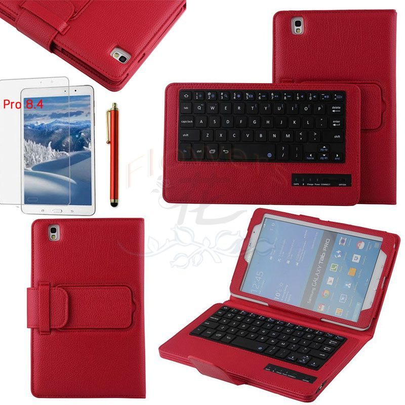 Specialized Removable Bluetooth Keyboard Case Smart Cover For Samsung Galaxy Tab Pro 8.4 T320 & Protective Screen Film &Pen Red samsung keyboard cover ej cg930ubegru black