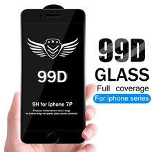 99D 보호 강화 유리 아이폰 7 6 6S 8 플러스 XS 최대 XR 유리 아이폰 7 x xs 최대 화면 보호기 유리 아이폰 7 6S 8