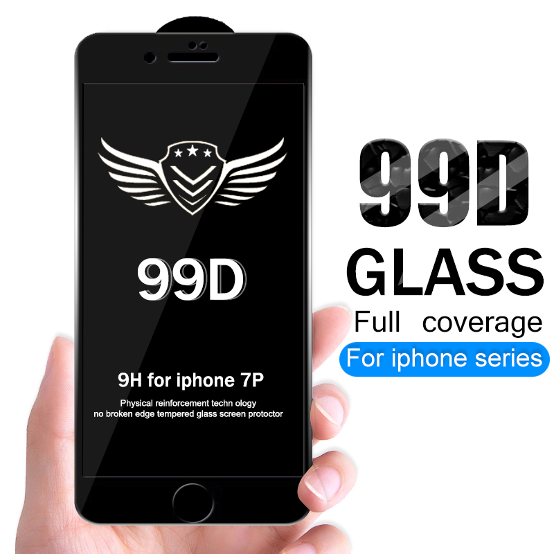 99D Protective tempered glass for iphone 7 6 6s 8 plus XS max XR glass iphone 7 x xs max screen protector glass on iphone 7 6S 8 in Phone Screen Protectors from Cellphones Telecommunications