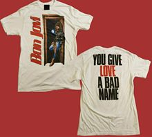 VINTAGE 1980s 90s BON JOVI T SHIRT 2 Sided YOU GIVE LOVE  Reprint Fashion Men And Woman Shirt Free Shipping